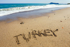 The word Turkey written in the sand Stock Image