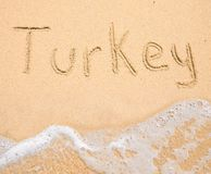 The word Turkey written in the sand on beach stock images