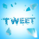Word tweet broken into pieces background Stock Photos