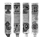 Word TYPE in Old Typewriter Typebar Letters Isolated on White Royalty Free Stock Image
