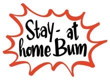 Word uitdrukking voor verblijfs thuis bedelaar vector illustratie