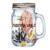 Word-Undersea world. Isoleted Tumbler with Marine Life Landscape - the ocean and the underwater world with different. Inhabitants. Aquarium concept for posters Royalty Free Stock Photo
