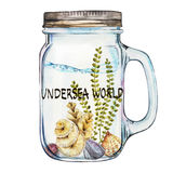 Word-Undersea world. Isoleted Tumbler with Marine Life Landscape - the ocean and the underwater world with different Royalty Free Stock Photos