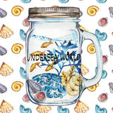Word-Undersea world. Isoleted Tumbler with Marine Life Landscape - the ocean and the underwater world with different Stock Photos
