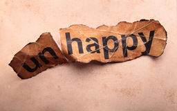 Word unhappy transformed into happy. Motivation.  stock photography
