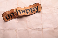 Word unhappy transformed into happy. Motivation Stock Images