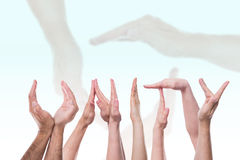 The word unity in front of hands Royalty Free Stock Image