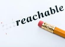 Word unreachable reachable Stock Photos