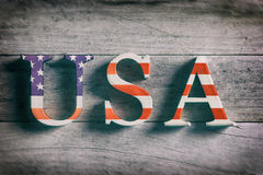 Word USA on wooden background Stock Images