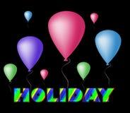 Word Vakantie en ballons Stock Foto