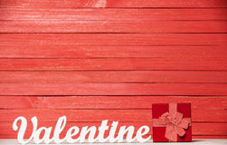 Word Valentine and gift Stock Photo