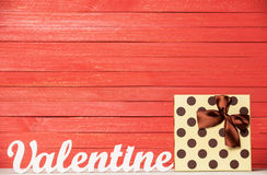 Word Valentine and gift Stock Image