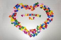 The word VALENTINES DAY is composed of bright colored letters.  royalty free stock image