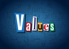 The word Values made from cutout letters. On a blue background Stock Photos