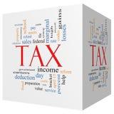 Word van de belastings 3D kubus Wolkenconcept Stock Foto