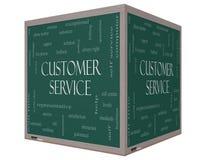 Word van de klantendienst Wolkenconcept op een 3D kubusbord Stock Fotografie