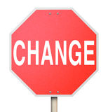Word van de verandering op het Geïsoleerdea Teken van het Einde - Stock Foto's