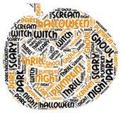 Word van Halloween van de Pumpkingsvorm Markeringswolk royalty-vrije stock afbeelding