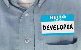 Word van het de Stickeroverhemd van het ontwikkelaarnaamplaatje stock illustratie