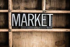 Word van het het Metaalletterzetsel van het marktconcept in Lade royalty-vrije stock afbeelding