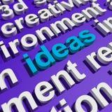 Word van ideeën in 3d het Van letters voorzien Tonende Concepten Stock Fotografie