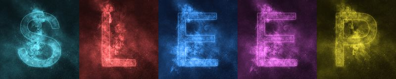 Word van letters voorziende SLAAPruimte gestileerde kleurrijke Brieven slaap royalty-vrije illustratie