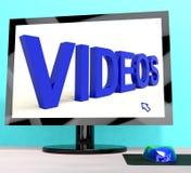 Word van video's op Computer die Dvd of Multimedia toont vector illustratie