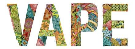 Word VAPE Vector decoratief zentanglevoorwerp Royalty-vrije Stock Fotografie