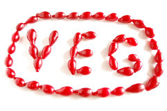 The word VEG made of cornel berries. The word VEG made of ripe dog-berries stock photos