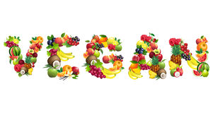 Word VEGAN composed of different fruits with leaves Royalty Free Stock Photos