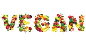 Word VEGANIST uit verschillende vruchten met bladeren wordt samengesteld dat Royalty-vrije Stock Foto's