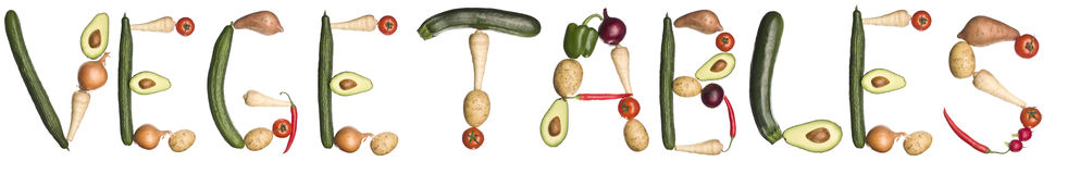 The word 'Vegetables' made out of vegetables Stock Photography