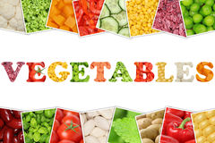 The word Vegetables with tomatoes, paprika, lettuce, potatoes Stock Images