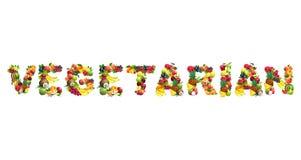 Word VEGETARIËR uit verschillende vruchten met bladeren wordt samengesteld dat Royalty-vrije Stock Afbeeldingen