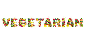 Word VEGETARIAN composed of different fruits with Stock Image