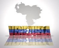 Word Venezuela on a map background Stock Photos