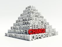 Word Verandering in rood, treffend onder ander verwant sleutelwoordenconcept in witte piramide Stock Afbeelding