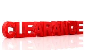 Word verkoop en ontruiming op rode achtergrondword ontruiming op witte achtergrond 3D Illustratie Royalty-vrije Stock Foto's