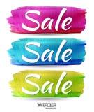 Word verkoop op waterverfvlek Achtergrond Stock Afbeeldingen