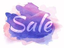 Word verkoop op waterverfvlek Vector beeld Stock Foto's
