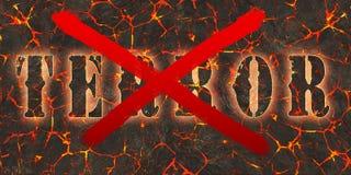 Word verschrikking door rode verf op gevaars rode lava die wordt geschreven en wordt gekruist stock illustratie