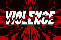 Word violence broken into pieces on shattered background Royalty Free Stock Photos