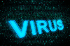 Word Virus glowing up on screen with blue digital background Stock Image