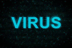 Word Virus glowing up on screen with blue digital background Royalty Free Stock Images