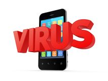 Word VIRUS and modern mobile phone. Royalty Free Stock Photos