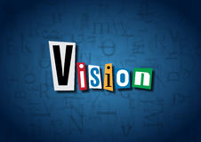 The word Vision made from cutout letters. On a blue background Royalty Free Stock Image