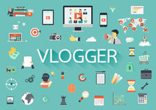 Word VLOGGER with involved flat icons around. Royalty Free Stock Photos
