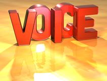 Word Voice on yellow background. (high resolution 3D image Royalty Free Stock Photo