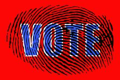 The word `VOTE` on the background of a fingerprint. Close up vector illustration