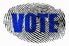 The word `VOTE` on the background of a fingerprint. Close up royalty free illustration